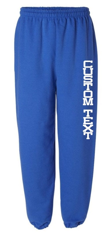 Custom Single Color Text Royal Blue Sweatpants