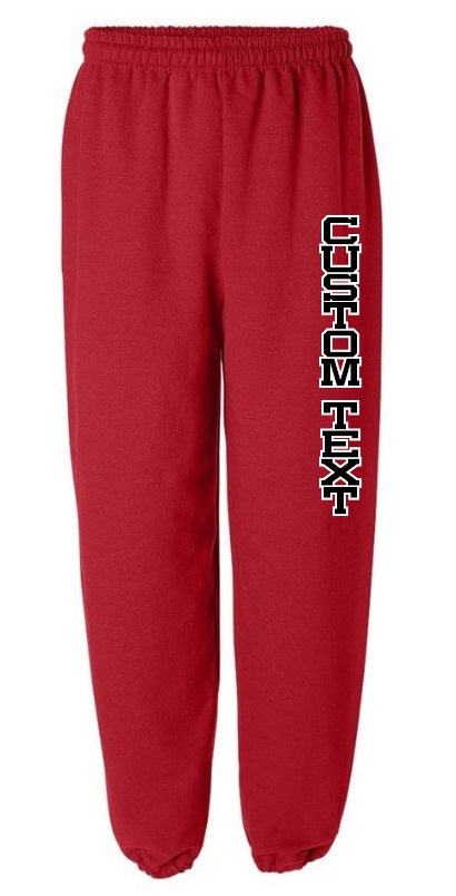 Custom Double Color Text Red Sweatpants