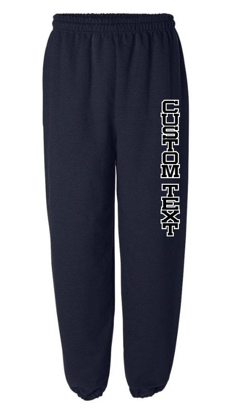 Custom Double Color Text Navy Sweatpants