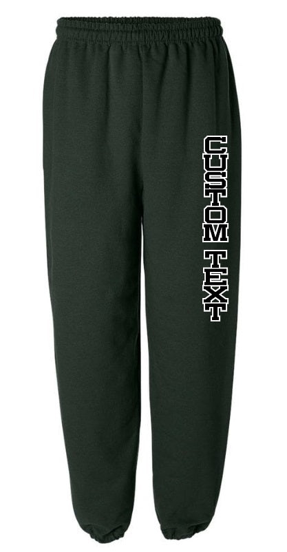 Custom Double Color Text Green Sweatpants