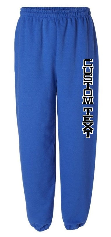 Custom Double Color Text Royal Blue Sweatpants