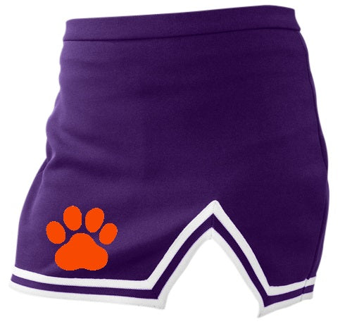 Paw Print Classic Purple A-Line Notched Cheer Skirt
