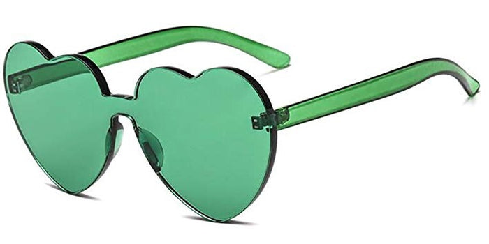 Green Heart Candy Colored Sunglasses