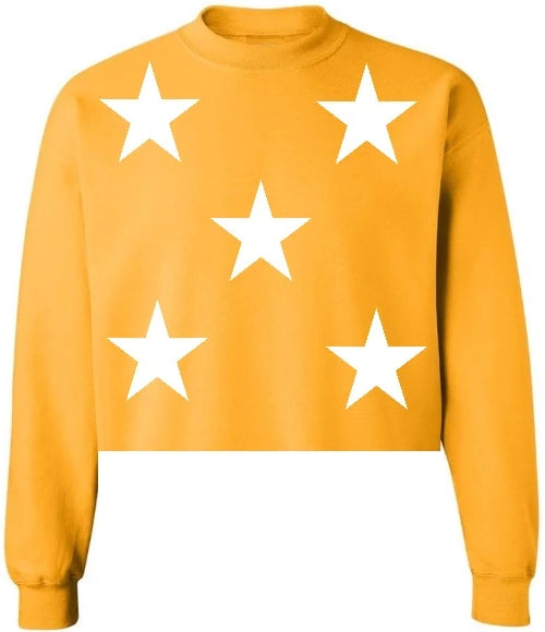Star Power Raw Hem Cropped Sweatshirt
