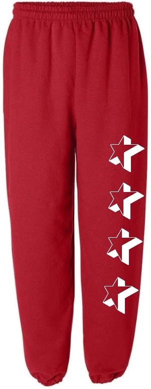 Star Season Red Sweatpants with Big White Stars