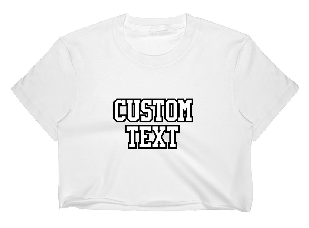 Custom Double Color Text White Raw Hem Cropped Tee