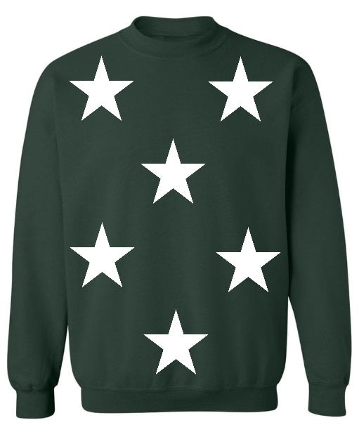 Star Power Green Crew Neck Sweatshirt with White Stars