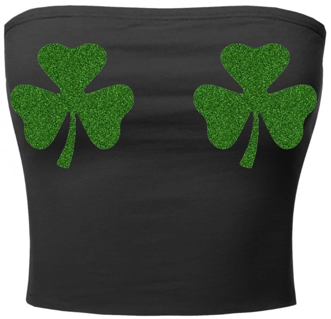 Glitter Clovers Cotton Tube Top
