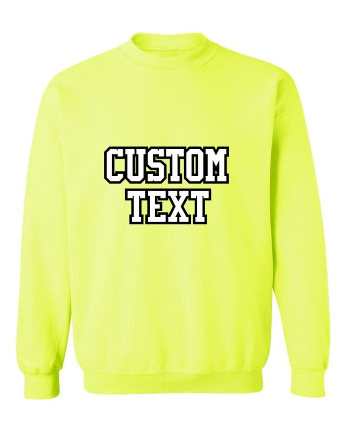Custom Double Color Text Safety Green Crew Neck Sweatshirt