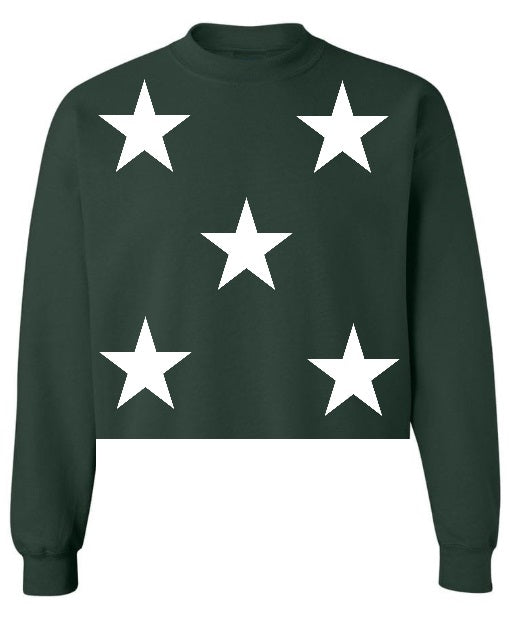 Star Power Green Raw Hem Cropped Sweatshirt with White Stars