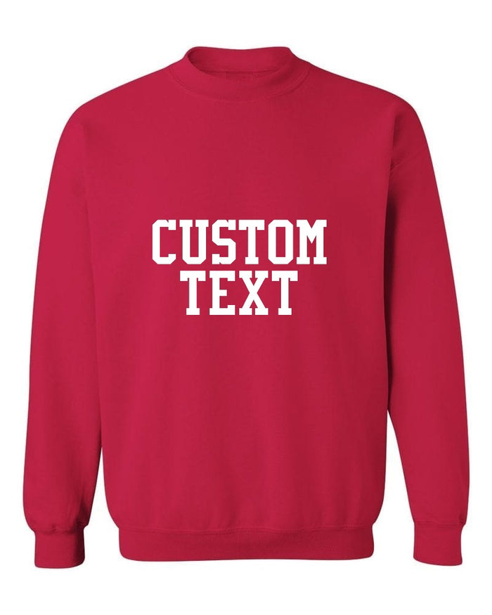 Custom Single Color Text Cherry Red Crew Neck Sweatshirt