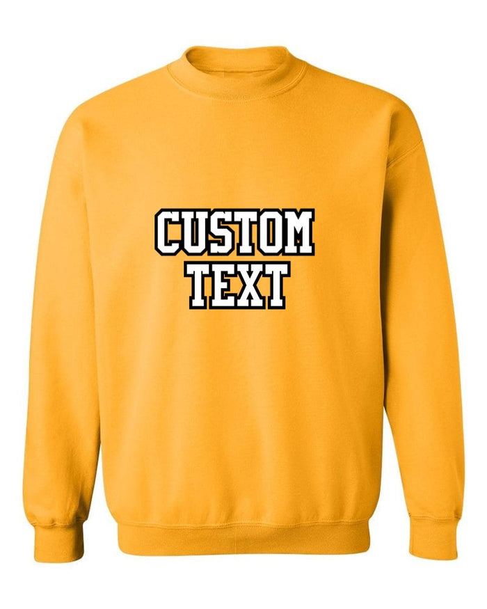 Custom Double Color Text Gold Crew Neck Sweatshirt