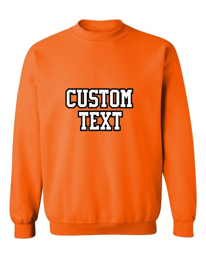 Custom Double Color Text Bright Orange Crew Neck Sweatshirt