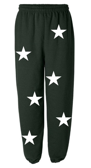 Star Power Green Sweatpants with White Stars