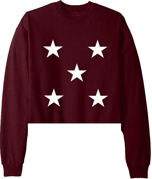 Star Power Maroon Raw Hem Cropped Sweatshirt with White Stars