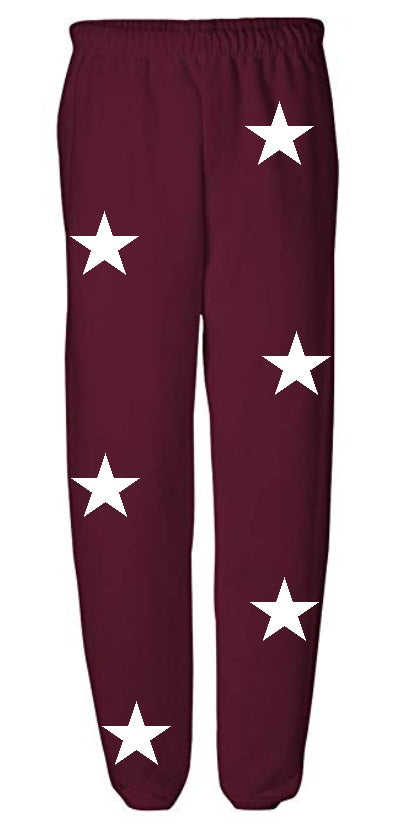 Star Power Maroon Sweatpants with White Stars