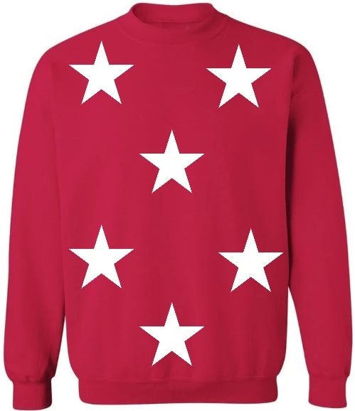 Star Power Red Crew Neck Sweatshirt with White Stars