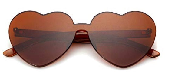 Brown Heart Candy Colored Sunglasses