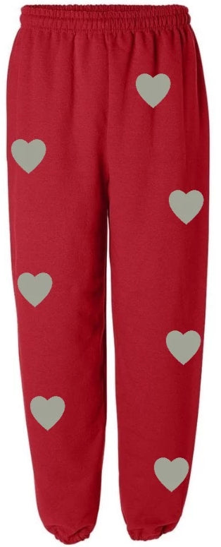 Wild At Heart Red Sweatpants with Grey Hearts