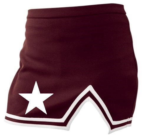 White Star Maroon A-Line Notched Cheer Skirt