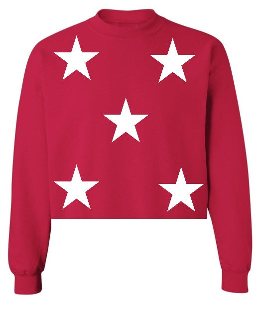 Star Power Red Raw Hem Cropped Sweatshirt with White Stars