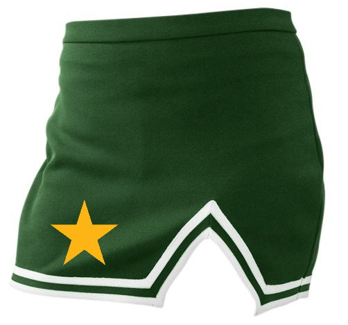 Yellow Star Green A-Line Notched Cheer Skirt