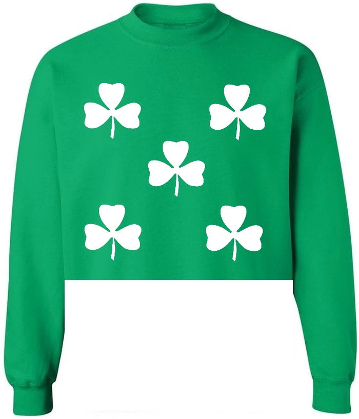 White Clovers Kelly Green Raw Hem Cropped Sweatshirt