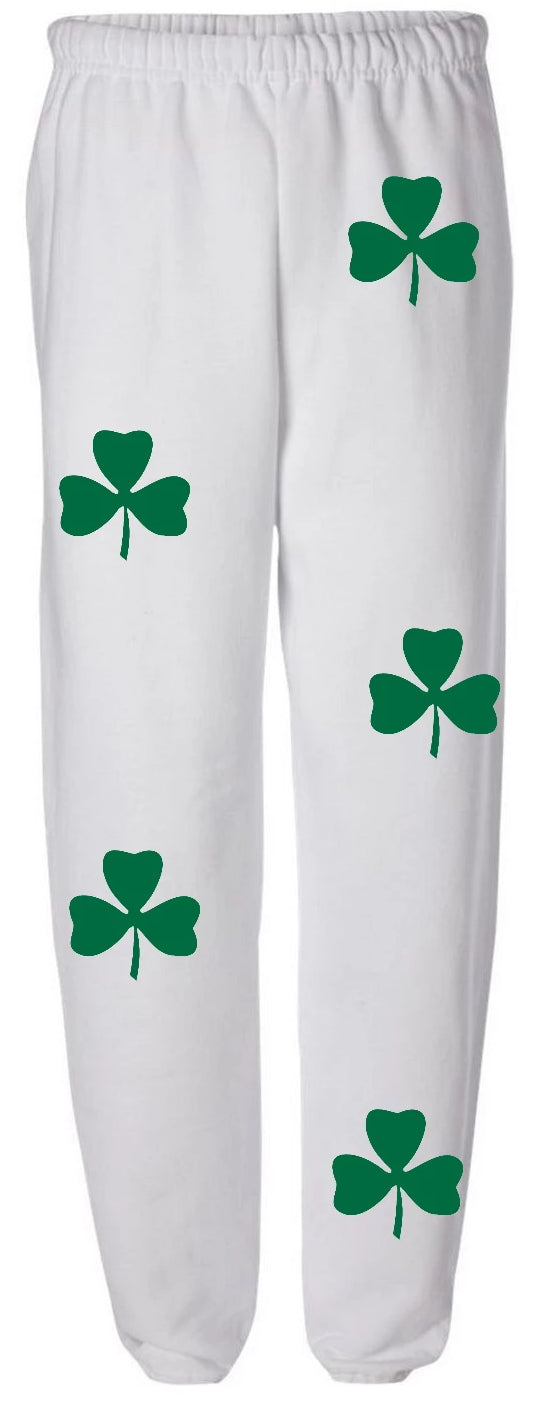 Green Clover White Sweatpants