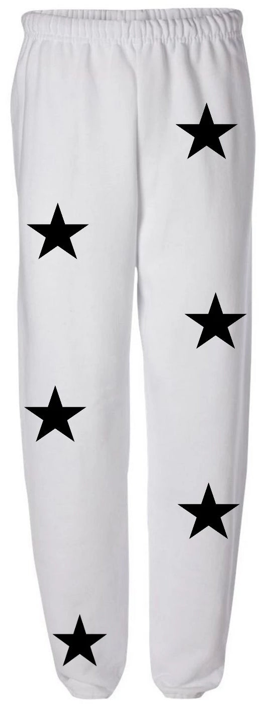 Star Power White Sweatpants with Black Stars