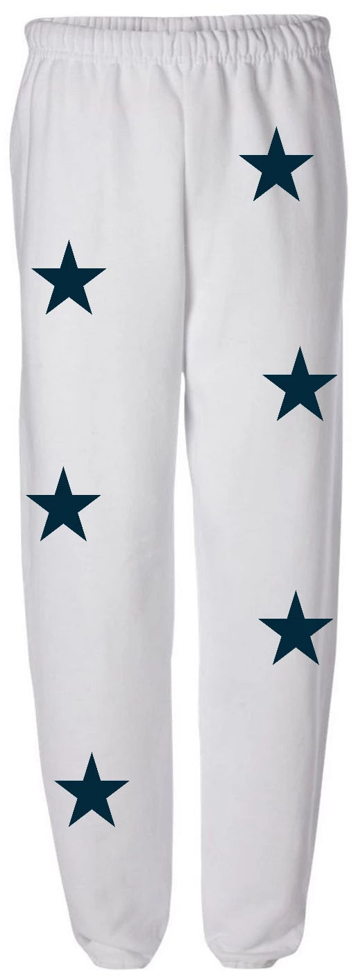 Star Power White Sweatpants with Navy Stars