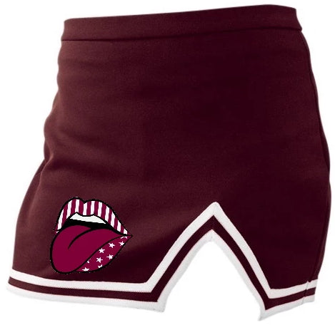 Love You Maroon A-Line Notched Cheer Skirt