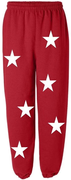 Star Power Red Sweatpants with White Stars