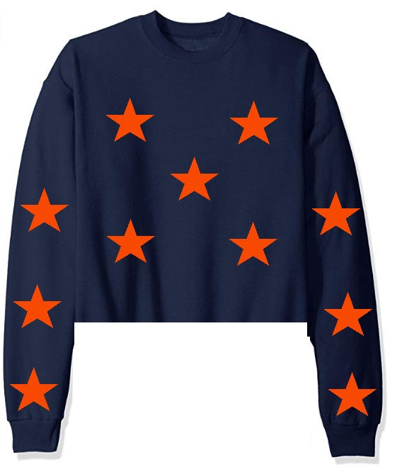 Star Power Navy Raw Hem Cropped Sweatshirt with Orange Stars