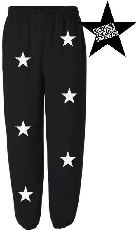 Custom Black Star Sweatpants- Customize Your Star Color!