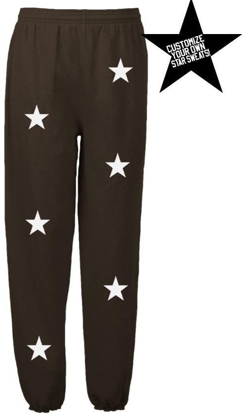 Custom Brown Star Sweatpants- Customize Your Star Color!
