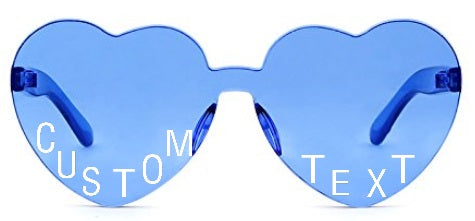 Custom Text Blue Heart Shaped Candy Colored Sunglasses