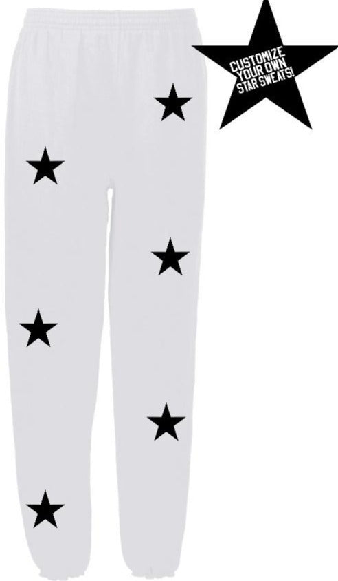 Custom White Star Sweatpants- Customize Your Star Color!