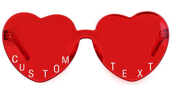 Custom Text Heart Shaped Candy Colored Sunglasses (12 Colors Available!)