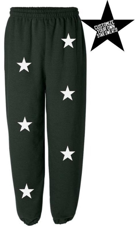 Custom Forest Green Star Sweatpants- Customize Your Star Color!