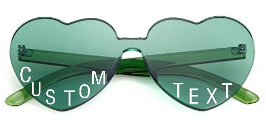 Custom Text Green Heart Shaped Candy Colored Sunglasses
