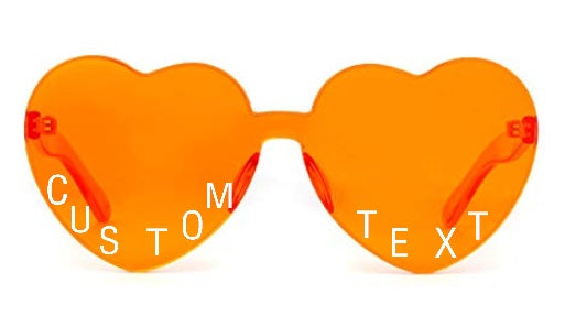 Custom Text Orange Heart Shaped Candy Colored Sunglasses