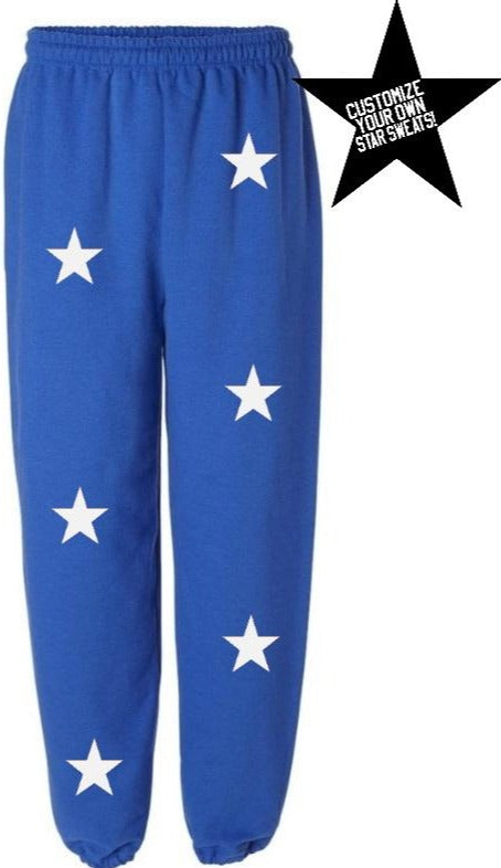 Custom Royal Blue Star Sweatpants- Customize Your Star Color!