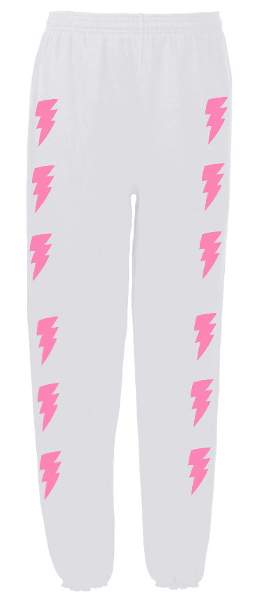 Custom White Side Lightning Sweatpants- Customize Your Lightning Color!
