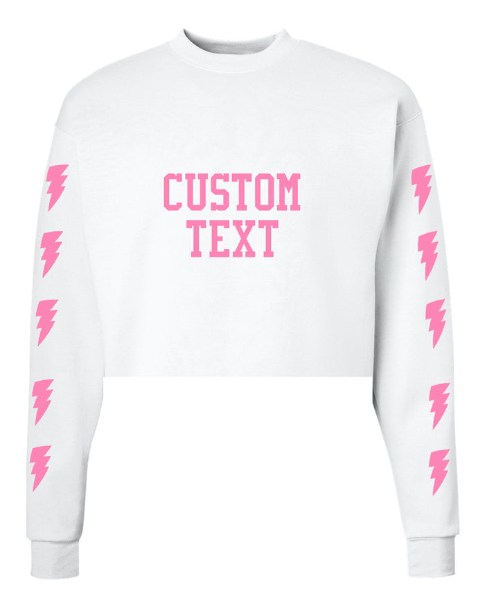 Custom Cropped Lightning & Text Crewneck Sweatshirt - Customize Your Lightning & Text Color!