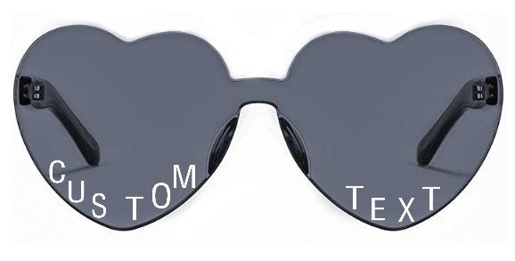 Custom Text Black Heart Shaped Sunglasses