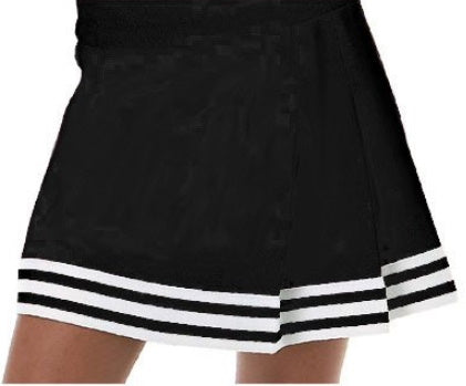 Black & White Three Pleat Cheer Skirt