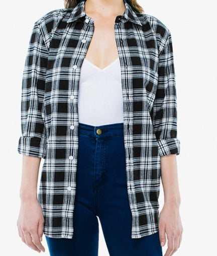 Black Friday Black & White Plaid Flannel Shirt