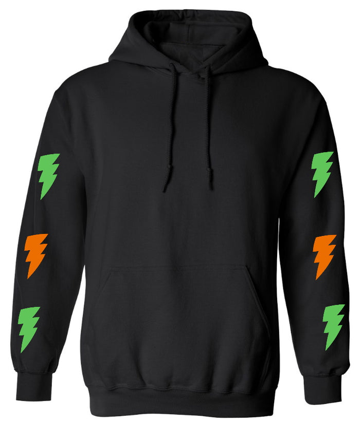 Lightning Bolts Black Hoodie with Green and Orange Bolts