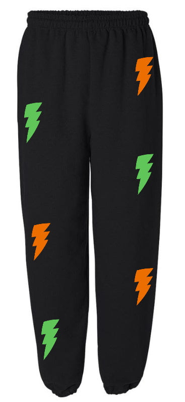 Lightning Bolts Black Sweatpants with Green and Orange Bolts