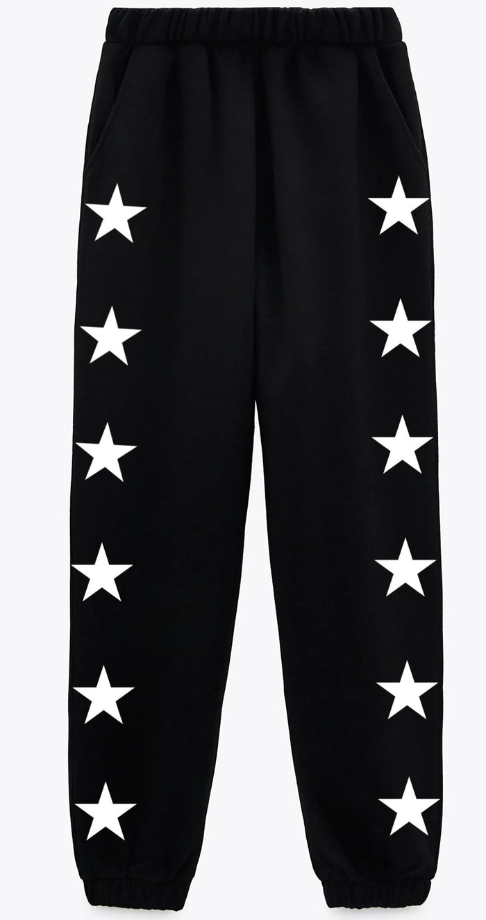 Custom Black Side Star Sweatpants- Customize Your Star Color!